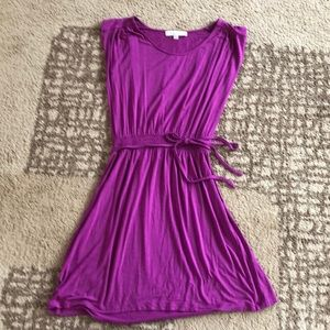 Fuschia flare dress with elastic waist